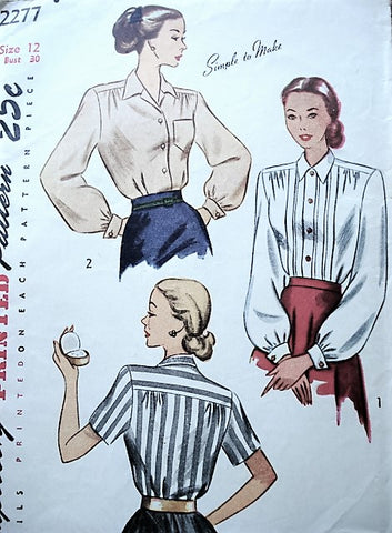 1940s Blouse Sewing Pattern, Simplicity 2277, Front Bodice Tucks, Fold back cuffs, Long and Short sleeves, Simple to Make, Bust 30 Vintage Sewing Pattern