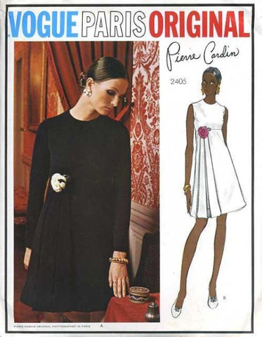 70s PIERRE CARDIN Lovely Day or Evening Dress Pattern Vogue Paris Original 2405 High Waist Unique Side Attached Loop Steamers Striking Design Bust 31 Vintage Sewing Pattern