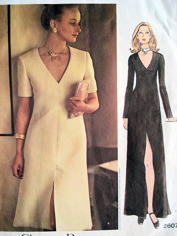 70s CLASSY DIOR Evening Dress or Gown Pattern VOGUE PARIS Original 2607 Low V Neckline Pure Elegance Bust 31 Vintage Sewing Pattern FACTORY FOLDED