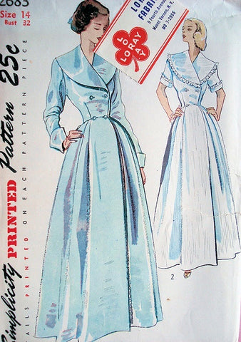 40s BEAUTIFUL Coachman Style Double Breasted Housecoat Pattern SIMPLICITY 2683 Lovely Hostess Robe,Lounging Robe, Brunch Coat,Flattering Wide Lapels Bust 32 Vintage Sewing Pattern
