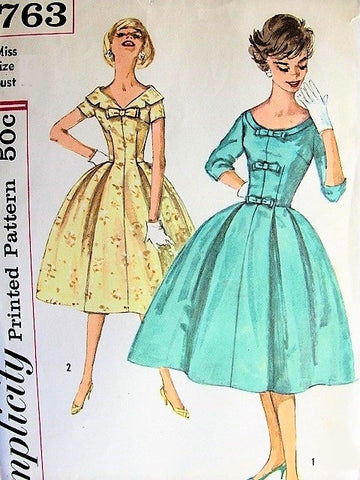 50s BEAUTIFUL Dinner Cocktail Party Dress Pattern SIMPLICITY 2763 Two Neckline Styles Softly Pleated Full Skirt Figure Flattering Evening Dress Bust 38 Vintage Sewing Pattern