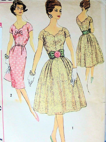 BEAUTIFUL 1960s Cocktail Party Dress Pattern SIMPLICITY 3045 Slim or Full Skirt,Lovely SCALLOPED V Neckline,Bust 34 Vintage Sewing Pattern