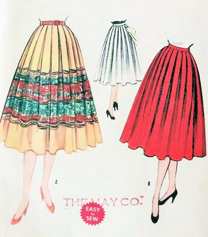 1950s Skirt Pattern Waist 28 McCalls 3246 Day or Evening Full Skirt Softly Pleated Skirt for Border Prints Vintage Sewing Pattern UNCUT