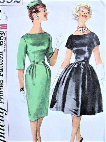 STUNNING 1960s MAD MEN Cocktail Dinner Party Pattern SIMPLICITY 3592 Slim or Full Skirted Dress Bust 32 Vintage Sewing Pattern