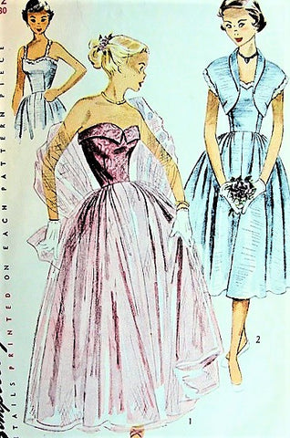 1940s BEAUTIFUL Strapless Evening Party Dress and Bolero Pattern SIMPLICITY 3623 Two Versions Bust 30 Vintage Sewing Pattern