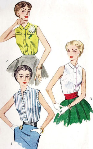 Simplicity 4238 Simple to Make Sleeveless Blouse 1950s Vintage Sewing Pattern Bust 32 Front Button Top