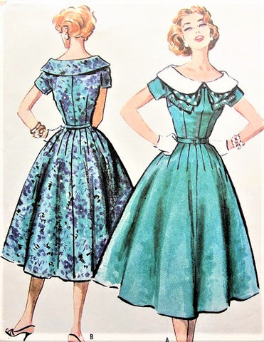 McCalls 4394 Lovely 1950s Dress Pattern Large Wide Collar Figure Flattering Day or Party Dress Bust 38 Vintage Sewing Pattern