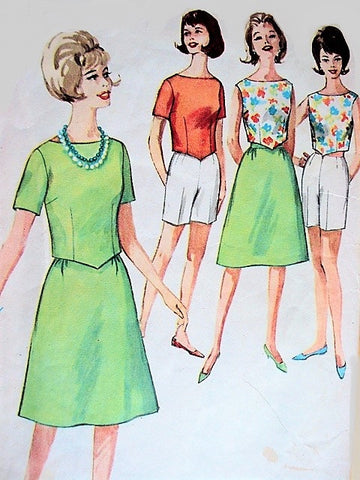 60s RETRO Beach Wear Weekend Wear Pattern Top, Skirt and Jamaica Shorts Simplicity 4437 Bust 32 Vintage Sewing Pattern UNCUT