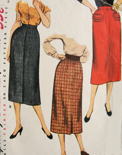 50s EASY To MAKE Slim Skirt Pattern SIMPLICITY 4491 Two Stylish Styles Waist 24 Vintage Sewing Pattern