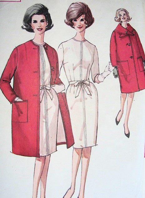 60s STYLISH Slim Dress and FAB Coat Pattern SIMPLICITY 4619 So Jackie Kennedy Style Bust 38 Vintage Sewing Pattern UNCUT