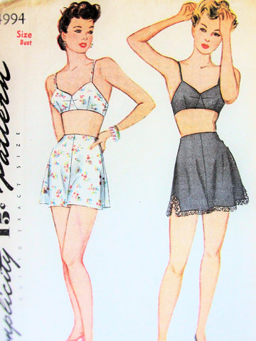 40s PIN UP Style Lingerie Pattern SIMPLICITY 4994 Bra and 3 Side Button Tap Panties Knickers Bust 38 Vintage Sewing Pattern