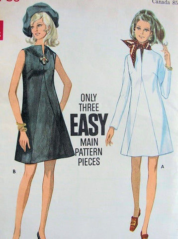 60s MOD A-line Dress with or without Sleeves Butterick 5506 Bust 34 Vintage Sewing Pattern