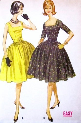 60s BEAUTIFUL Cocktail Party Dress Pattern McCALLS 5729 Square Neckline Full Skirt With Attached Petticoat 1960 Miss America Style Easy To Sew Bust 31 Vintage Sewing Pattern UNCUT