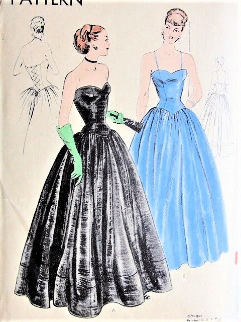 34ab9a4e77 40s GORGEOUS Big Band Era Evening Gown Pattern VOGUE 5915 Stunning Corset  Style Lace Up Back