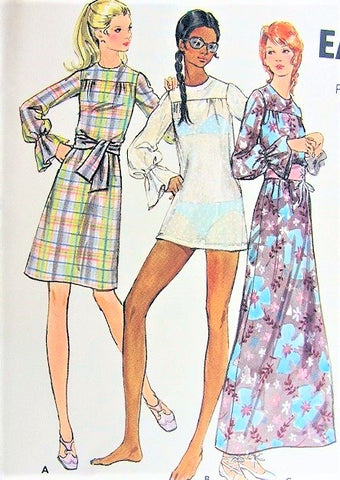 70s DRESS or Beach Cover Up Pattern BUTTERICK 6196 Cute Micro Mini, Regular or Maxi Length Dress, Beach Dress,Swimsuit Coverup Bust 34 Vintage Sewing Pattern FACTORY FOLDED