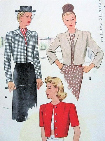 40s Set of Cropped Jackets Boleros Pattern McCALL 6458 Three style Versions Vintage Sewing Pattern