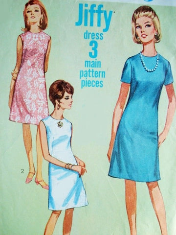 60s MOD Jiffy Dress Pattern Simplicity 7072 Simple To Sew A Line Dress 2 Style Versions Bust 32 Vintage Sewing Pattern FACTORY FOLDED