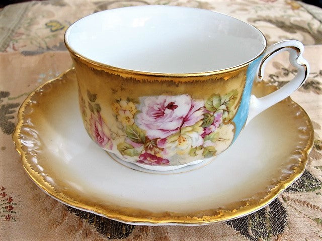 BEAUTIFUL Victorian Teacup and Saucer Lush Pink Roses Cabinet Cup and Saucer Tea Time China Collectible Antique Teacups