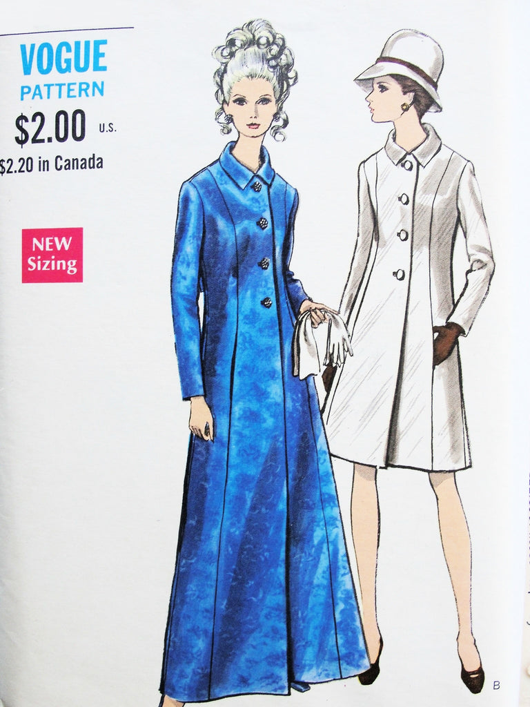 60s MOD Coat Pattern VOGUE 7297 Elegant Day or Formal Evening Maxi Length Semi Fitted A Line, Martingale Belt Bust 38 Vintage Sewing Pattern