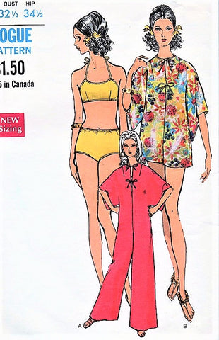 MOD Pantdress Beach Coverup and Swim Suit Pattern VOGUE 7336 Two Pc Bathingsuit and Cute Beach Cover Up Patio Pant Dress Size 10 Vintage Beachwear Sewing Pattern