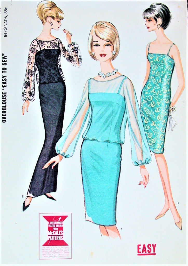 60s CLASSY Evening Sheath Cocktail Dress Pattern McCALLS 7482 Figure Molding Sheath, Sheer Overblouse Bust 36 Vintage Sewing Pattern