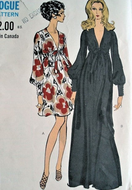 60s FAB Evening Gown Cocktail Dress Pattern VOGUE 7630 PLUNGING V Neckline High Waist Full Sleeves With Tight Cuffs Bust 36 Vintage Sewing Pattern