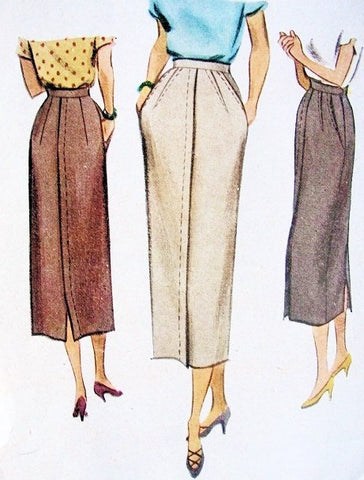 40s CLASSY Slim Skirt Pattern McCall 7836 Lovely Details Waist 28 Vintage Sewing Pattern