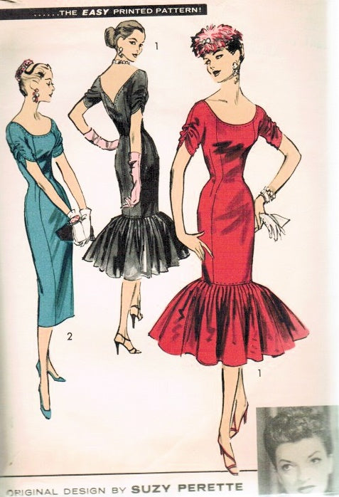 STUNNING 1950s Advance 7942 Evening Cocktail Party Dress MERMAID Flounce Designer Suzy Perette Bust 30 Vintage Sewing Pattern