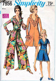 MOD Simplicity 7956 Pattern Palazzo Jumpsuit PantDress Ruffled V Neck Romper Bust 36 Vintage Sewing Pattern UNCUT