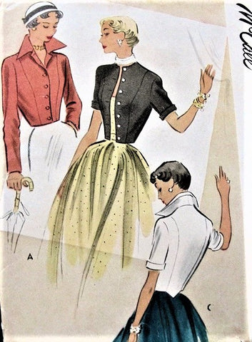 50s DRAMATIC Wing Collar Bolero Jackets Coat Pattern McCall 8025  includes Jewel Neckline Version Vintage Sewing Pattern