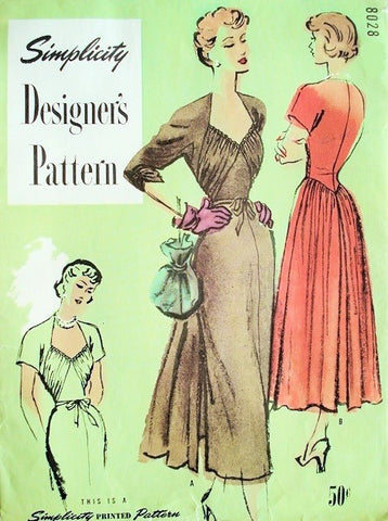1940s GORGEOUS Party Dinner Evening Dress Pattern Simplicity Designers 8028 Low Shaped Neckline Draped Bodice Flowing Skirt Bust 32 Vintage Sewing Pattern