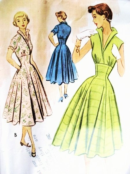 50s McCALLS 8835 Dress Pattern ROCKABILLY High Waist Fitted Midriff Dress ,Stand Up Wing Collar, Full Skirt Bust 31 Vintage Sewing Pattern