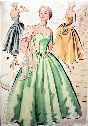 50s BEAUTIFUL Formal Evening Gown Pattern McCALLS 9121 Bombshell Sweetheart Neckline Strapless Ball Gown or Cocktail Party Dress and Stole Bust 30 Vintage Sewing Pattern