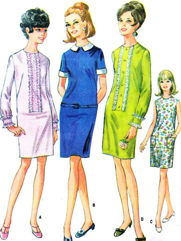 60s MOD Shift Dress Pattern McCalls 9219 Dress with Lace or Ruffle Trim Vintage Sewing Pattern Bust 31 UNCUT
