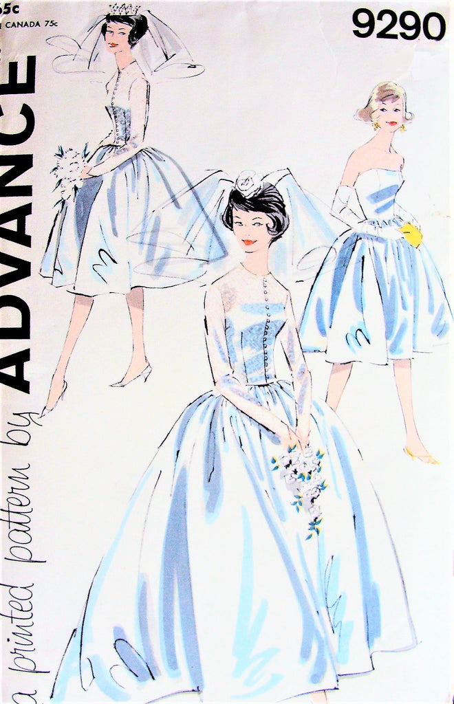 60s LOVELY Audrey Style Wedding Bridal Dress Pattern ADVANCE 9290 Strapless Bridal Gown, Jacket, Bridesmaids Dress Bust 32 Vintage Sewing Pattern