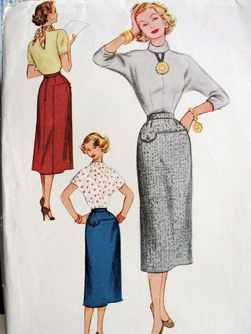 FAB McCalls 9314 Pencil Slim Skirt Pattern,Waist 24 Skirt,Marilyn Monroe Style Skirt,Factory Folded Vintage Sewing Pattern
