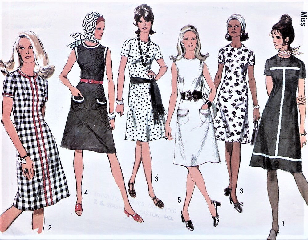 70s RETRO A Line Dress Pattern Short Sleeves or Sleeveless Patch Pockets 5 Style Versions Simplicity 9315 Vintage Sewing Pattern Bust 36