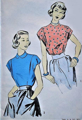 1940s PRETTY Blouse Pattern ADVANCE 5911 Two Cute Styles Tuck In Blouses Bust 36 Vintage Sewing Pattern FACTORY FOLDED