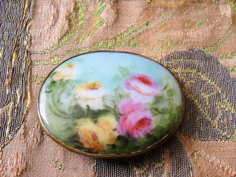 GORGEOUS Antique FRENCH Brooch,Hand Painted Porcelain Brooch,Romantic Roses,Pink Yellow Roses Pin,Large Oval Brooch,Collectible Porcelain Brooch