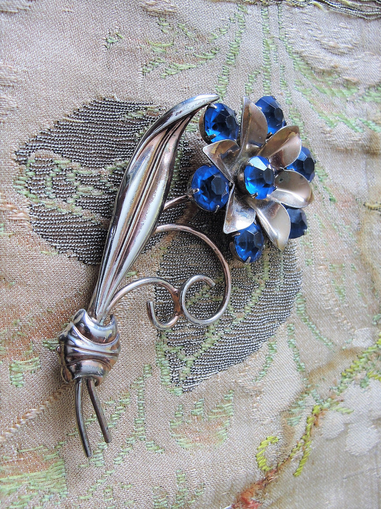 BEAUTIFUL Art Deco Sterling Silver Brooch, Large Floral Silver Brooch, Blue  Glass Stones, Figural Brooch, Large Flower Pin Retro Brooch, Collectible
