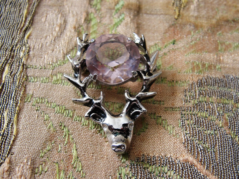 Wonderful Vintage ROYAL STAG BROOCH,Sterling Silver Brooch,Scottish Stag,Amethyst Stone,Vintage Scottish Brooch, Pin, Collectible Scottish Jewelry