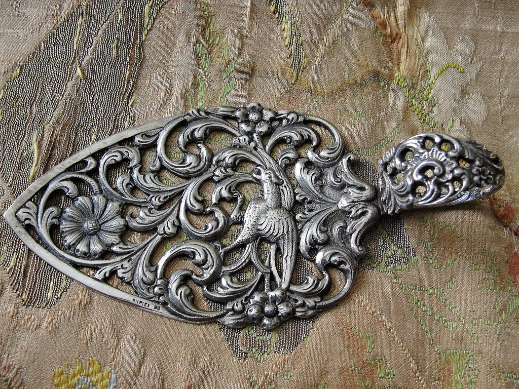 BEAUTIFUL Vintage Silver Ornate Cake Pastry Server,Floral Pattern,Openwork,Filigree Silver,Unique Wedding Gift,Fine Dining,French Chateau Decor,Collectible Silver