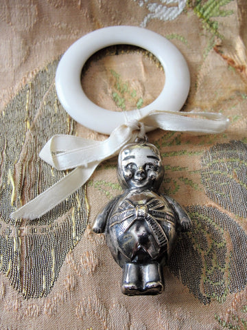 Adorable Vintage Baby  RATTLE and TEETHING RING,Silver Baby Rattle, Figural Baby Rattle, Made in England, Collectible Baby Rattles Teethers
