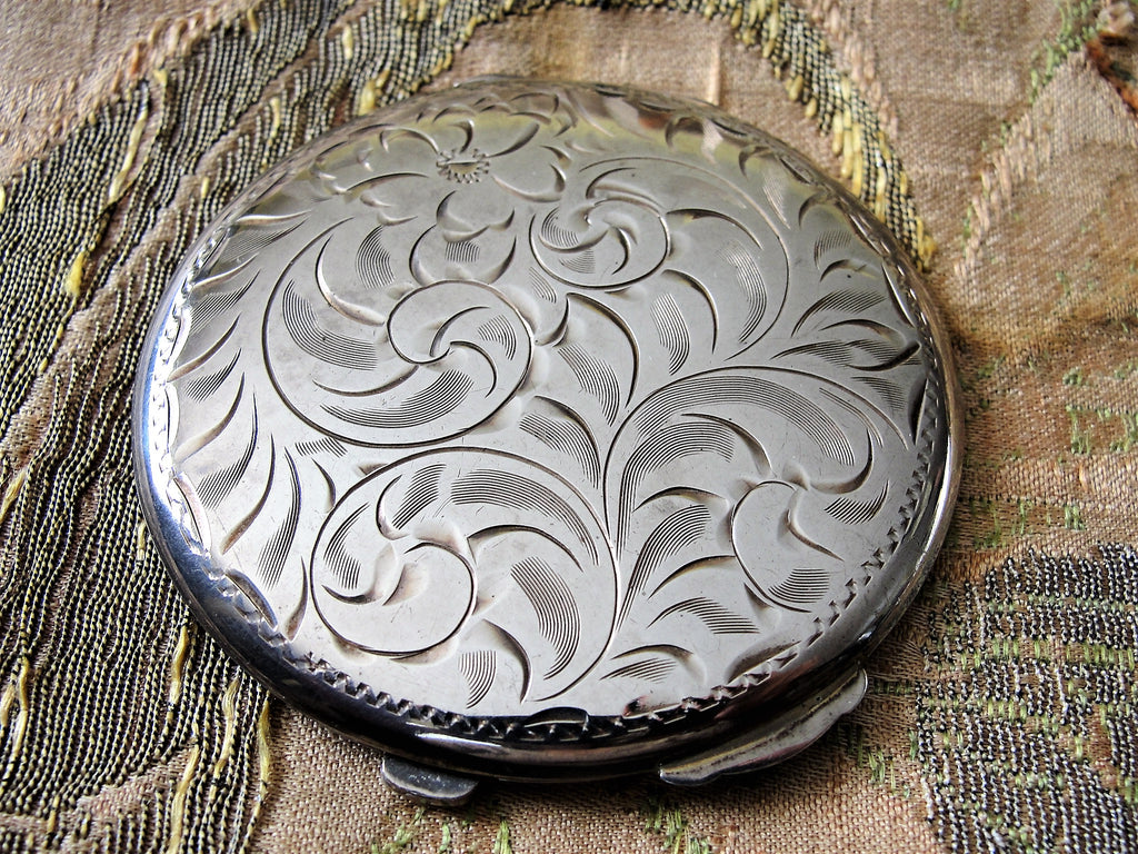 BEAUTIFUL Birks Sterling Silver Engraved Powder Compact, Lovely Engraving, Vanity Compact, Silver Purse Compact, Canadian Tiffany Store,Collectible Compacts