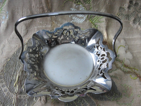 lovely Vintage SILVER BASKET Candy Basket,Sweetmeats or Condiment Dish,Graceful Handle,Silver Open Work,Cottage Decor,Tea Time, Fine Dining Collectible Silver