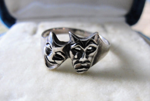 RARE Vintage Sterling Silver Ring,Theatre,Comedy and Tragedy Masks,Unique Ring, Art Deco,Silver Rings, Collectible Vintage Jewelry
