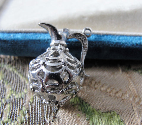 Beautiful FILIGREE STERLING PENDANT Charm, Sterling Silver Filigree Jug,Silver Pitcher,Collectible Vintage Silver Charms,Vintage Pendant, Charm Bracelets, Silver Jewelry