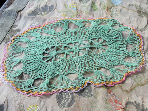 PRETTY Vintage Doily Jadeite Green Pink Edged Hand Crocheted Doily Farmhouse Decor, French Country Cottage,Unique Design Collectible Doilies