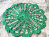 PRETTY Vintage Doily,Christmas Green,Hand Crocheted Doily Farmhouse Decor, French Country Cottage,Unique Design Collectible Doilies