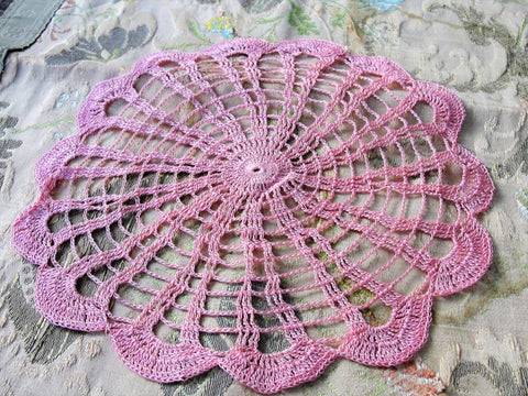 PRETTY Vintage Doily PINK Hand Crocheted Doily Farmhouse Decor, French Country Cottage,Unique Design Collectible Doilies